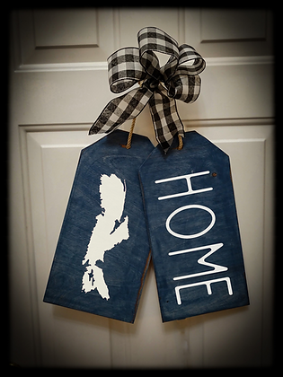 "Wooden Door Tags  ""Map / HOME"" fully finished"
