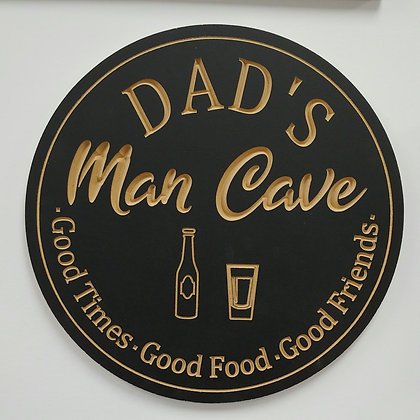 "PREMADE 16"" carved round ""dad's mancave"""