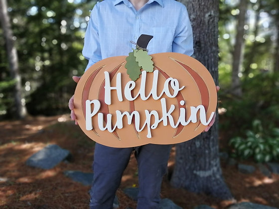 "3D sign - ""Pumpkin Door Hanger""    19.5x15"""" fully finished"