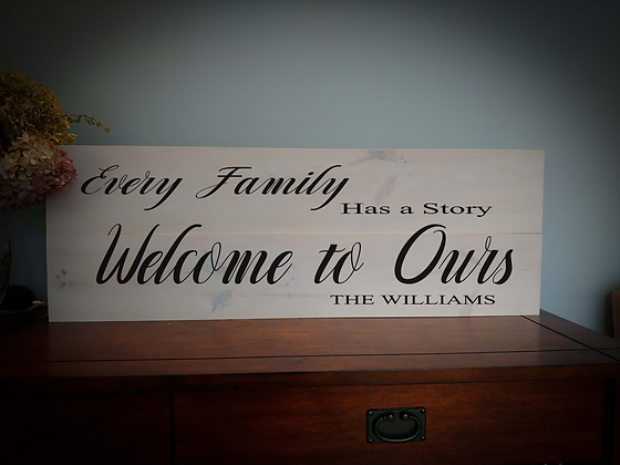 "Rustic Wooden Sign Project ""Every Family""  11""x 32"""