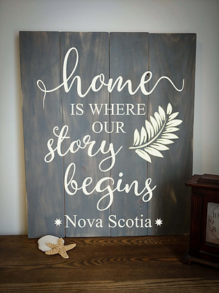 "Rustic Wooden Sign ""Home - Story Begins"" 20""x24"""