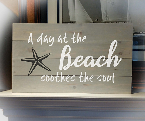 "Rustic sign - ""Day at The Beach"" 14""x24""   fully finished"