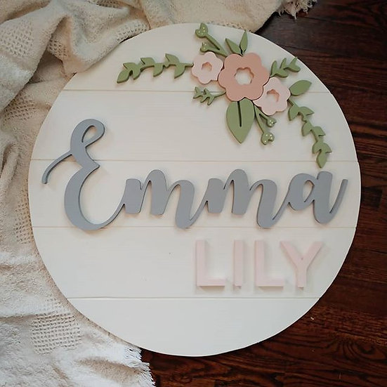 """3D sign - Two Names - arched floral 23.5"""" beadboard round fully finished"""