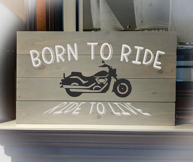 14x24 motorbike rustic sign