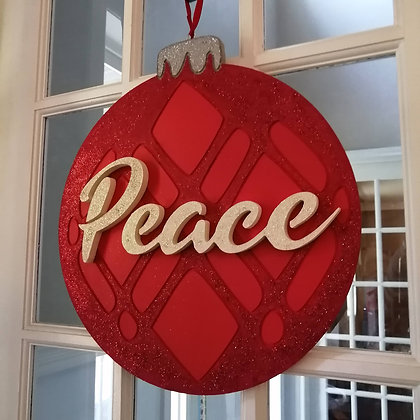 """PREMADE 3D sign - """"Glitter Orn. peace"""" 15x17 MDF fully finished"""