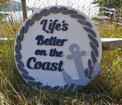 """3D Wooden Sign Project """" better on coast anchor"""" 23.5"""" round DIY"""