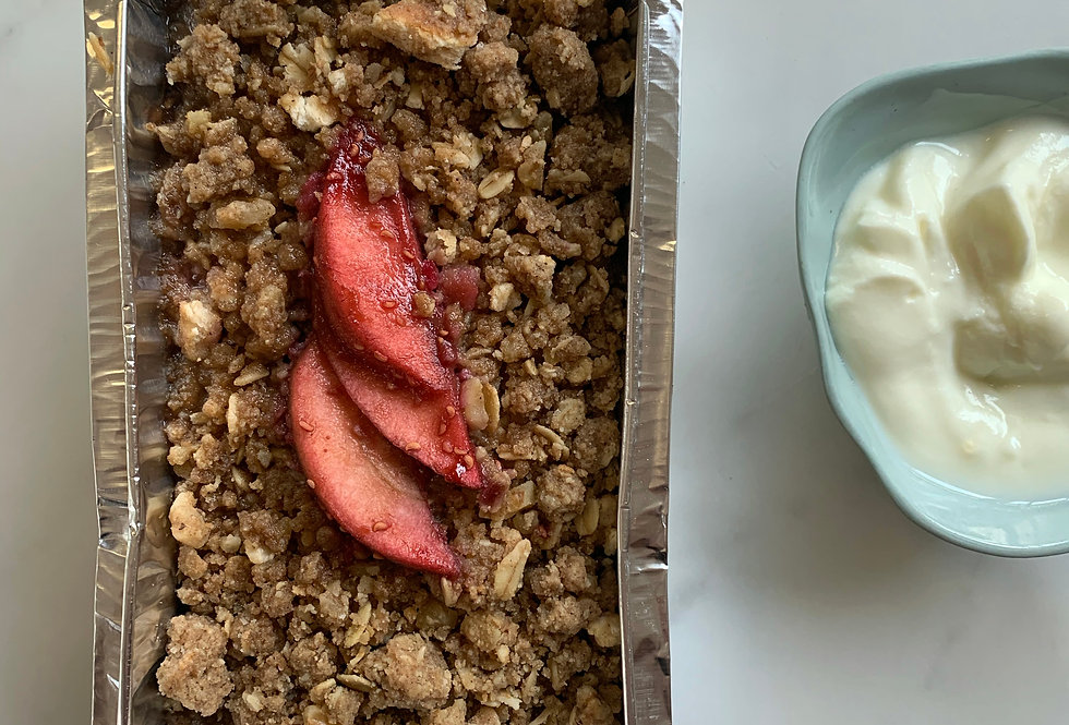 APPLE, RHUBARB, RASPBERRY CRUMBLE