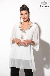 B19131 - Μπλούζα μουσελίνα με μοτίφ και top  Χρώμα: Εκρου, Μαύρο Μέγεθος: S, M, L, XL, XXL (48-62) Σύνθεση: 100%PES Τιμή: 59,50€