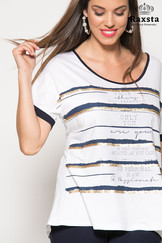 B19149 - Μπλούζα τύπωμα ριγέ foil  Χρώμα: Τύπος Μέγεθος: S, M, L, XL, XXL (48-62) Σύνθεση: 92%VIS, 8%EA Τιμή: 49,50€
