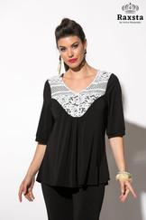 B19128 - Μπλούζα με δαντέλα και κουμπιά  Χρώμα: Μαύρο, Μπλε Μέγεθος: S, M, L, XL, XXL (48-62) Σύνθεση: 85%PES, 11%COT, 4%EA Τιμή: 40,50€