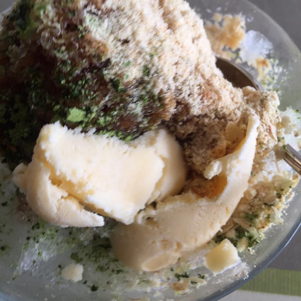 抹茶黒蜜きな粉 豆乳アイスのかき氷