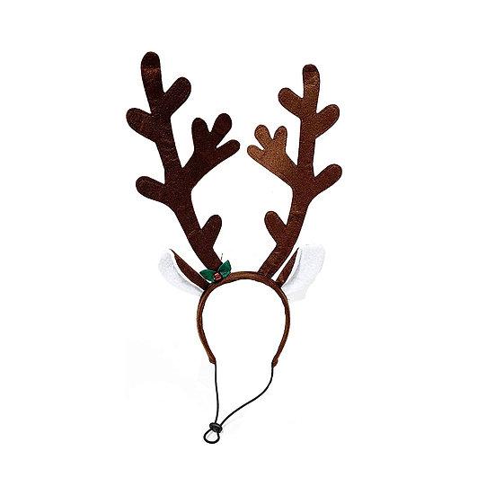 Brown Reindeer Dog Antlers Headband with Jingle Bell