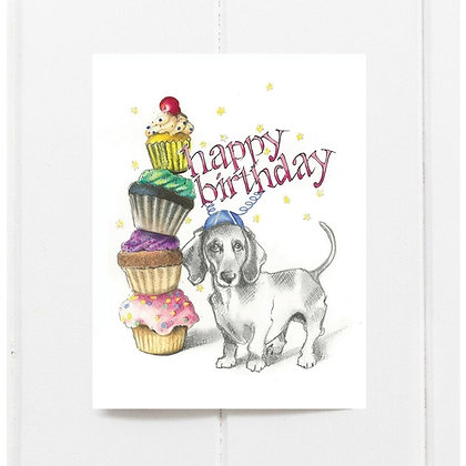 Cupcake Dachshund Birthday Card