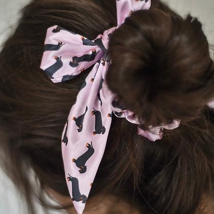 Satin Bow Scrunchie – Pink Dachshund