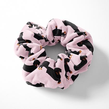Velvet Scrunchie – Pink Dachshund
