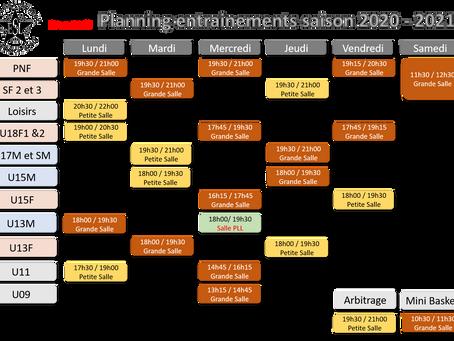 LE PLANNING DES ENTRAINEMENTS 2020-2021