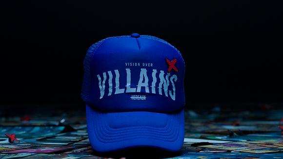 Vision Over Villains trucker in Royal/White