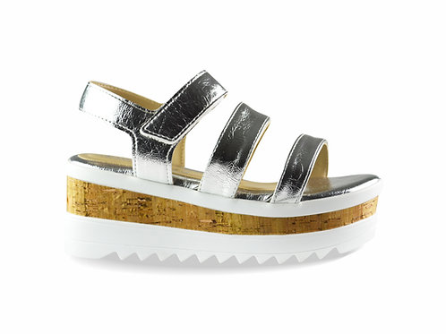 Sandalia napa metálica plata