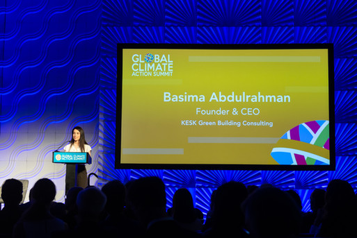 """Basima's 5-minute opening speech at """"Building Up To Net Zero Carbon Emissions"""" session during the Global Climate Action Summit"""