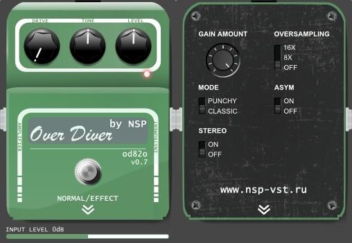 FREE Overdrive Effect VST plugin Over Diver od82o