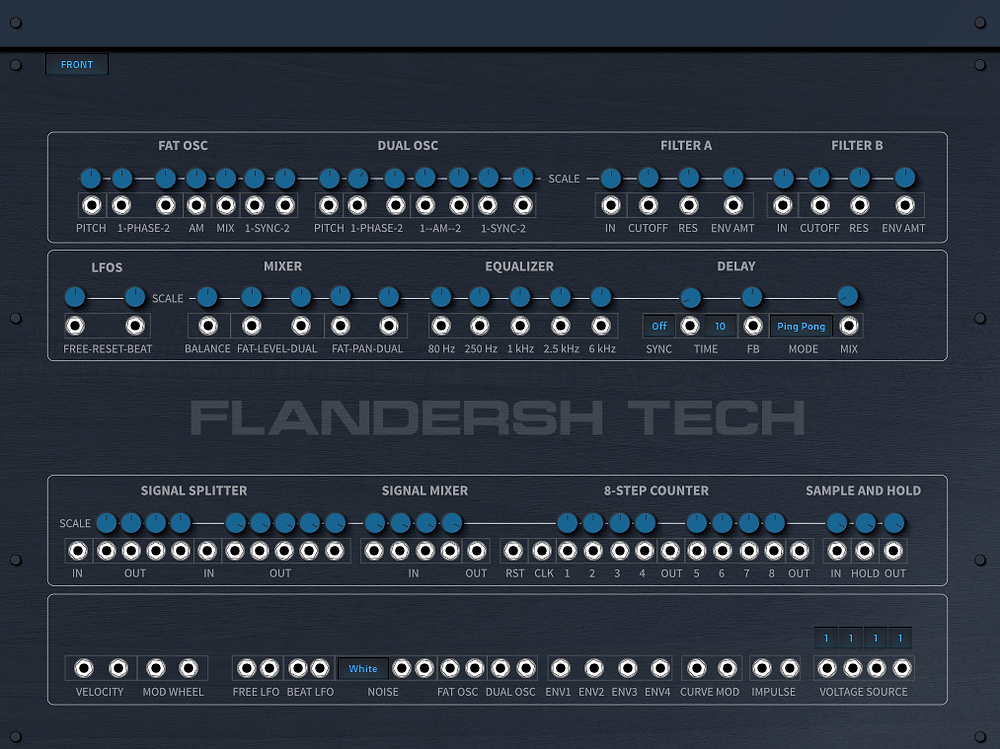 Back panel view of FREE Synth Tonetta Blue by Flandersh Tech
