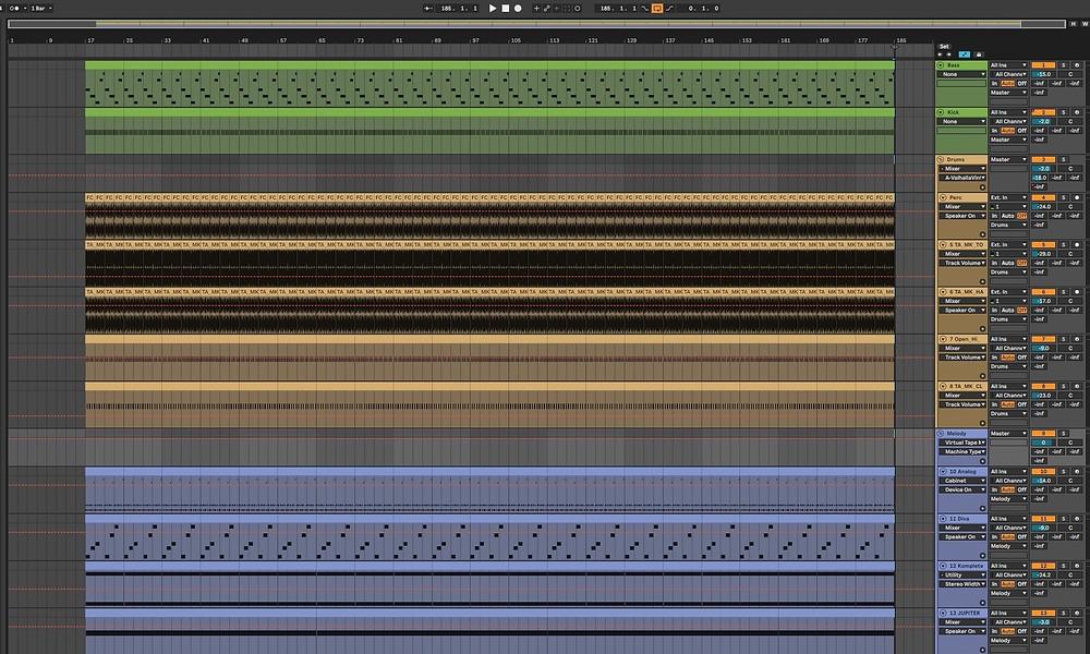View of Ableton full track arrangement