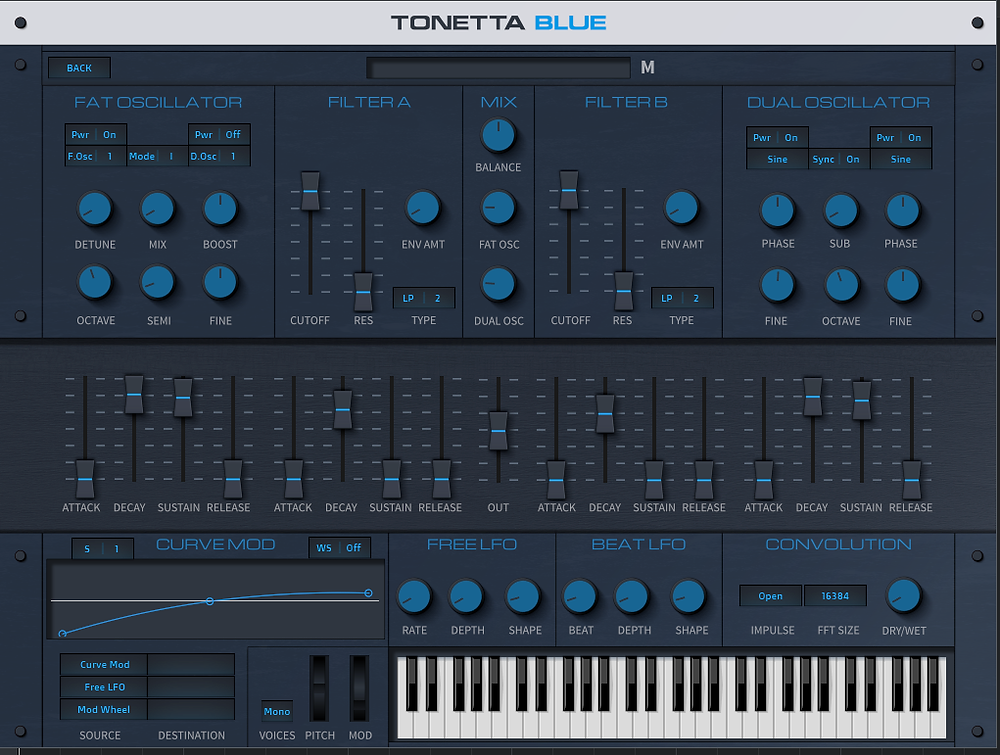Front View of FREE Synth Tonetta Blue by Flandersh Tech