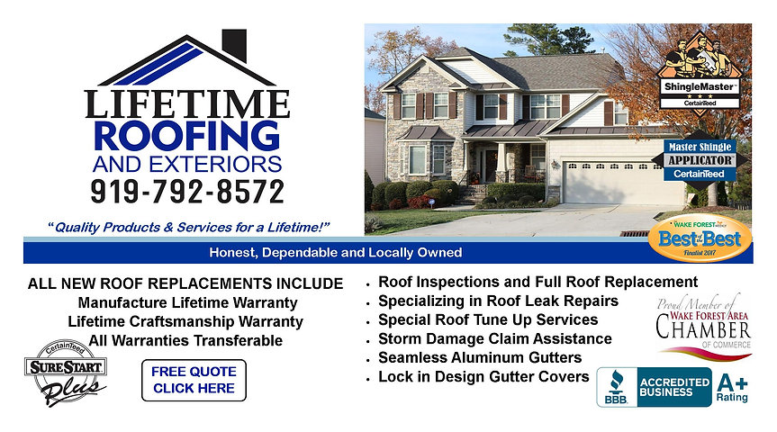 Lifetime Roofing and Exteriors Offering Roof inpectins, Roof Replacemen, Gutter, Gutter Guards, Interior and Exterior  and Energy Savings Solutions.  Contact Us today, 919-792-8572