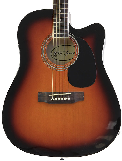 Acoustic Electric Thinline Guitar With Single Cutaway Sunburst