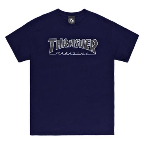 Thrasher T-Shirt Outline Navy Black