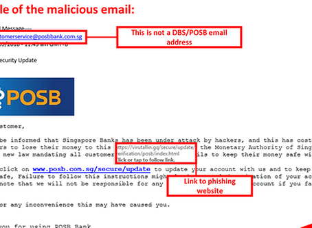 Phishing scheme targeting POSB customers: DBS