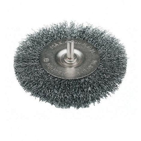 Cepillo Circular con espiga de alambre ondulado