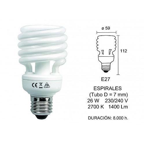 LAMPARA BAJO CONSUMO 26 W. E-27 LUZ CALIDA