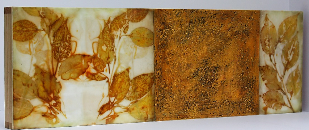 Beautiful leaf prints and textured wax
