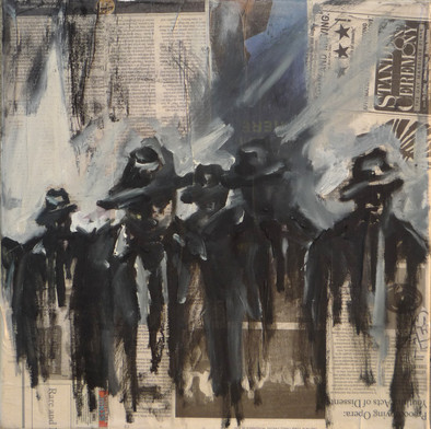 The Individuals project oil on canvas 12x12 2012  This painting corelates to a series of sculptures by the same name.