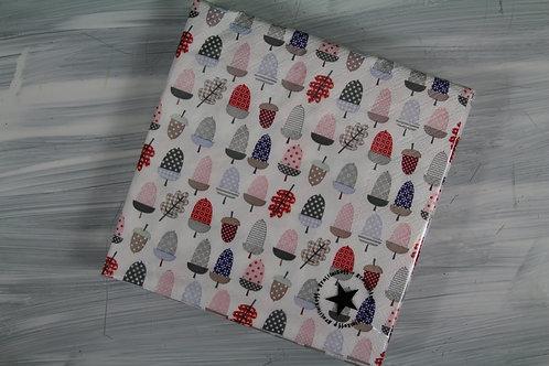 Papierservietten mit farbigen Eicheln