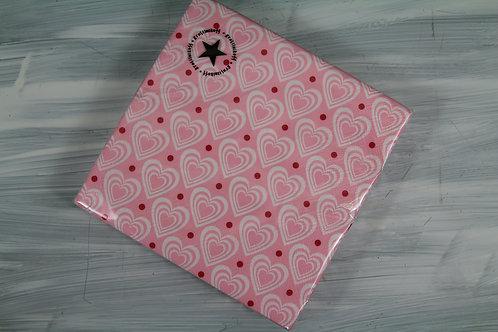 Papierservietten rosa mit weissen Herzen