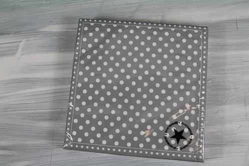 Papierservietten grau mit weissen Punkten