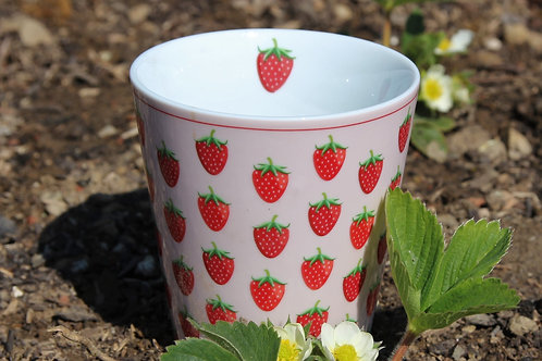 Tasse - Erdbeeren - für kalte oder warme Getränke