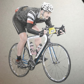 Pastel Drawing of Cyclist