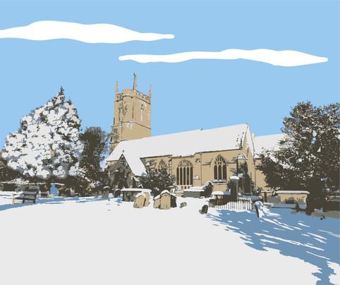 St Marys Church Winter Illustration