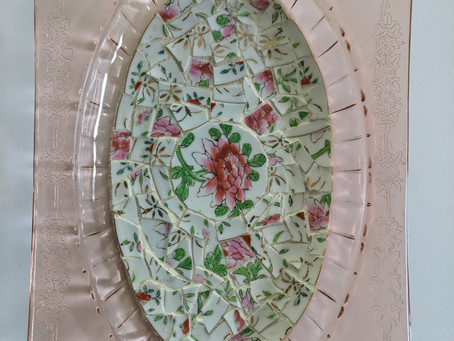 """Mosaic Depression Glass Tray from Broken China 6"""" by 9"""""""