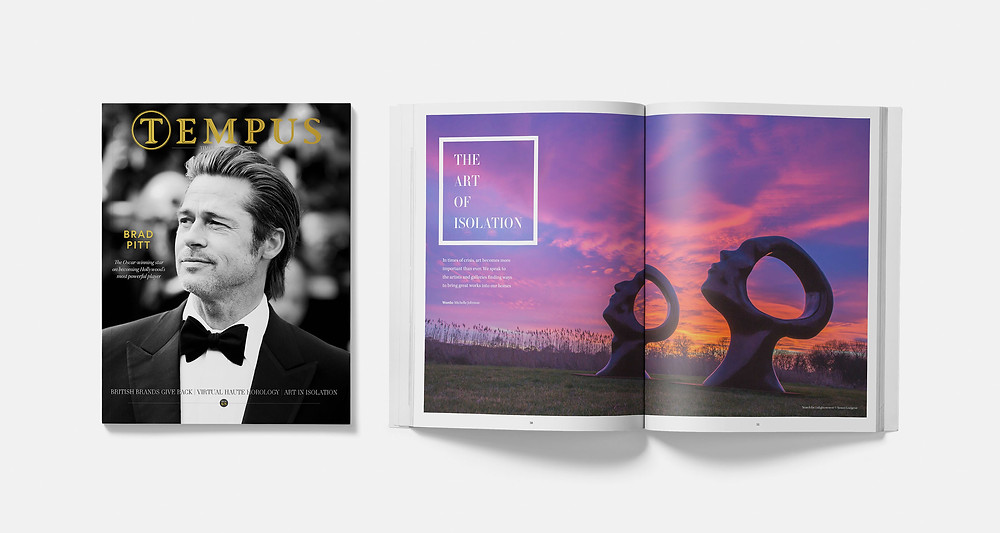 Inside Tempus Magazine issue 68. Brad Pitt graces the cover, while inside a special feature examines the role of art in times of crisis such as war and pandemic. London's luxury lifestyle magazine Tempus, June/July 2020