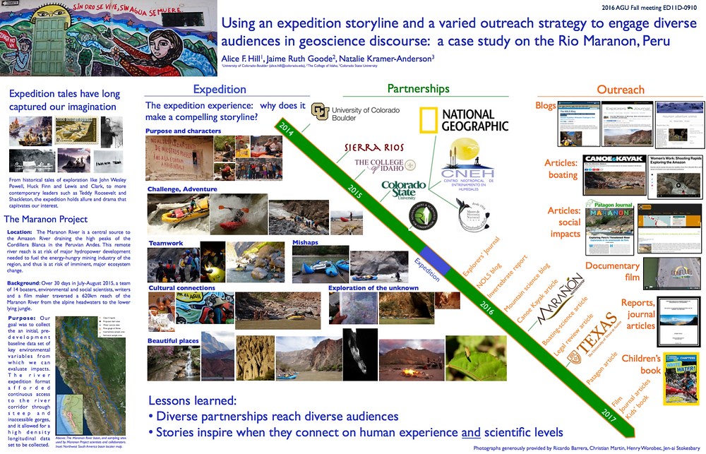 """""""Using an expedition storyline and a varied outreach strategy to engage diverse audiences in geoscience discourse: a case study on the Rio Maranon, Peru"""""""