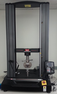 Instron testing machine for testing flexible structures mechanisms and materials