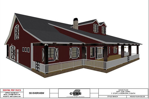 CD-238, 2 STORY, 4 BEDROOM, 3.5 BATH, 3,298 SQFT.:RANCH/FARM STYLE
