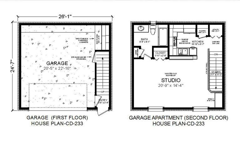 HOUSE PLAN-CD-233-APARTGARAGE