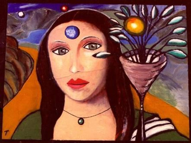 Shri Mona is one of renowned New York City Artist Todd Monaghan's first painted collages.