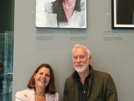 Piet van den Boog portrait of minister Marja van Bijsterveldt, revealed at the Dutch Ministry of Edu