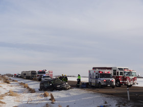 Semi and minivan collide on Hwy 12